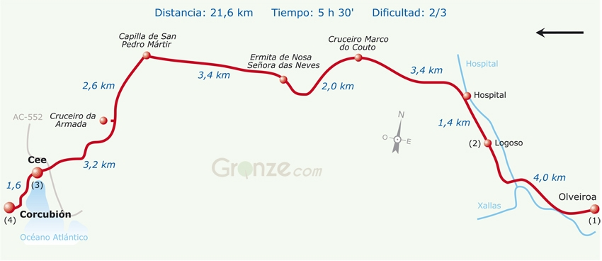Route Map of Day 3a, Camino Finisterre