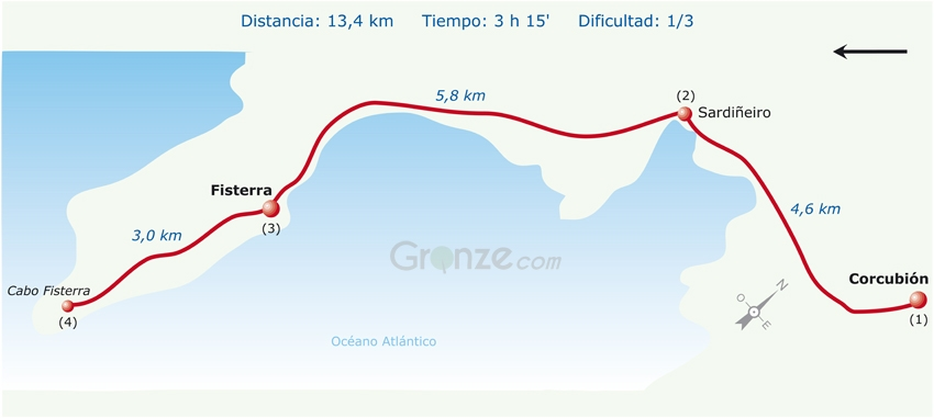 Route Map of Day 3b, for the Camino Finisterre.