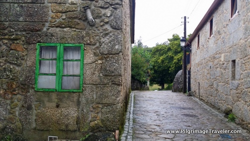 Another Painted Green Window along the Finisterre Way, Galicia, Spain