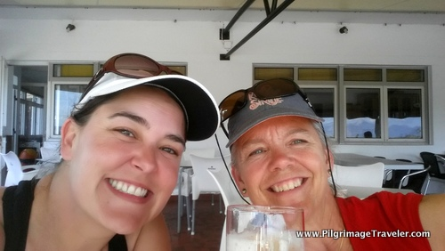 Shelly and Elle, Happy Pilgrims Celebrate in Fisterra, Spain