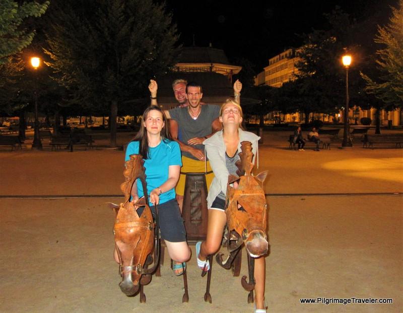 Camino Horseplay in the Praza Maior