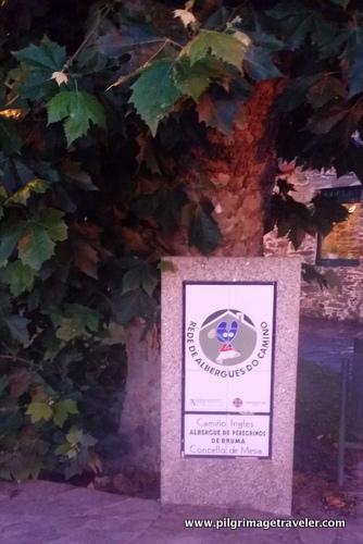 Signpost for Albergue, Camino Inglés, Spain