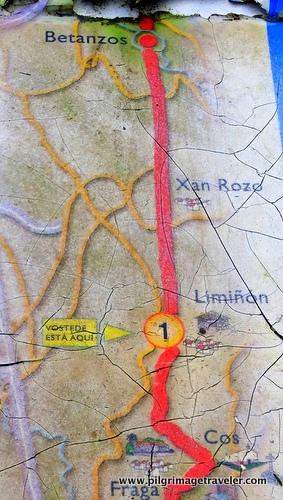 Map of Betanzos to Limiñón, Camino Inglés, Spain