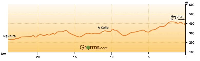 Elevation Map of Day Four, Camino Inglés, Spain