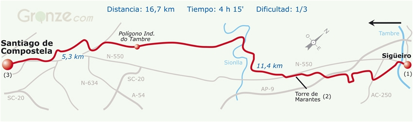 Route Map of Day Five of the Camino Inglés, Spain
