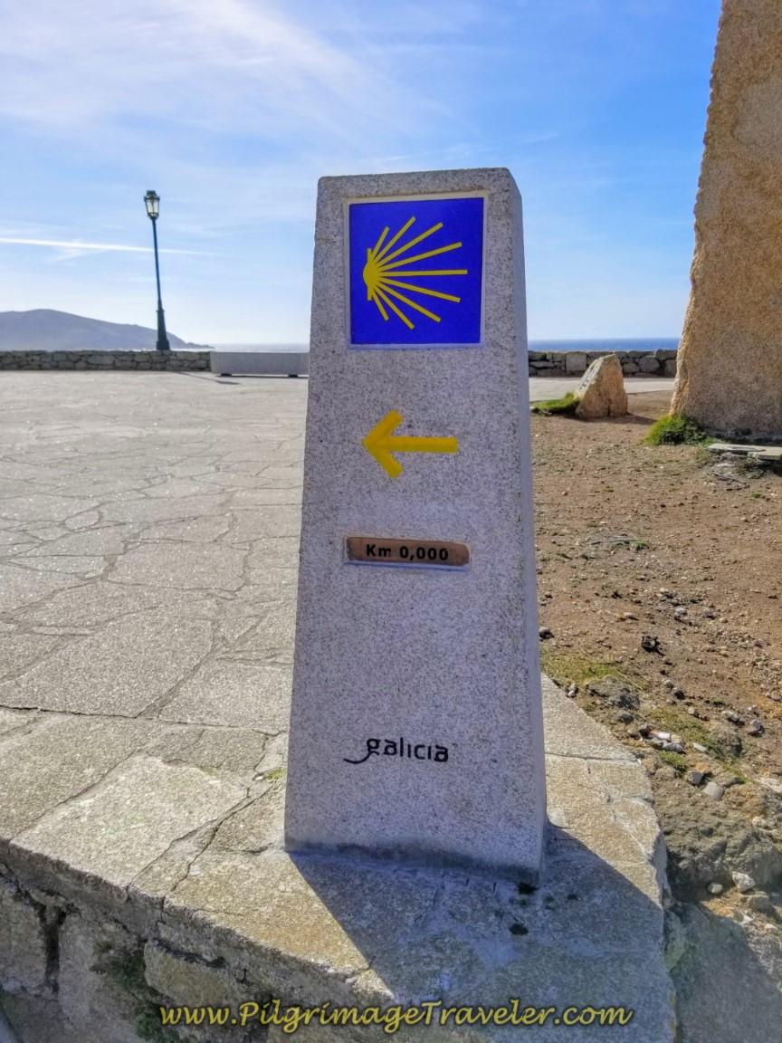 Close Up of New 0.0 Kilometer Waymark in Muxía