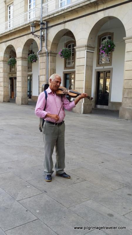 Violinist on the Maria Pita Square, La Coruña, Galicia, Spain