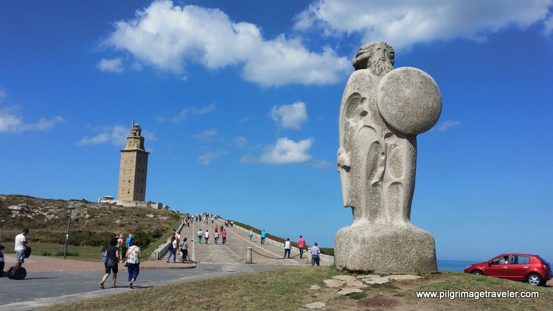 Statue of Breogán and the Tower of Hercules, La Coruña, Galicia, Spain