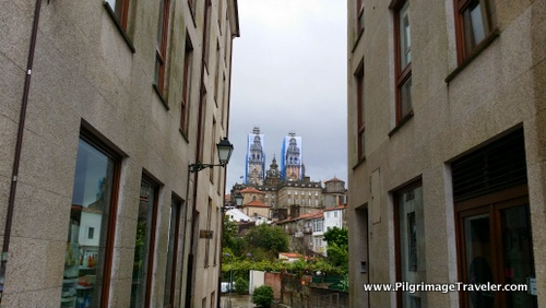 View of the Cathedral, Looking Back on the Camino Finisterre, Santiago de Compostela, Spain