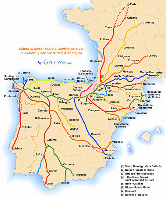 Camino Walk Spain Map.The Way Of St James