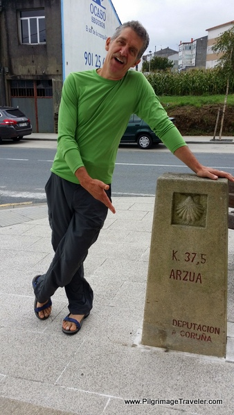 Rich at the Kilometer Marker, 37.5 Arzúa