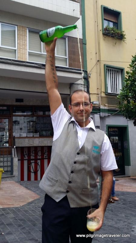 Pouring the Cidar, Oviedo, Spain