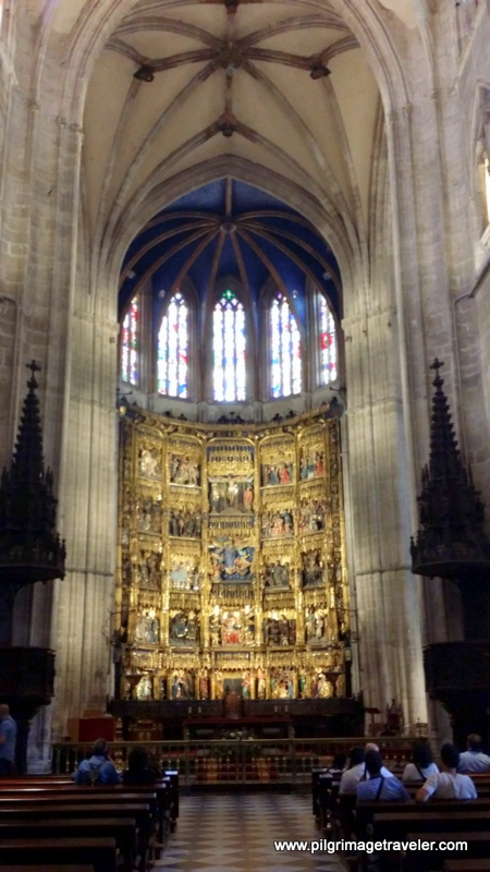 Nave and high altar of the Cathedral of San Salvador in Oviedo, Spain