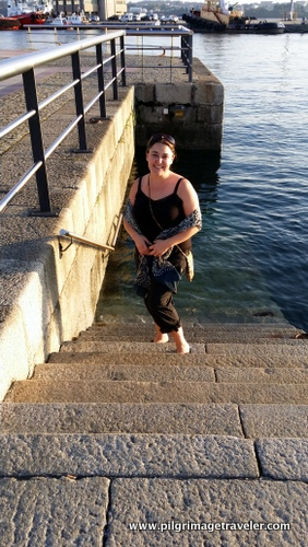 Shelly on Port Steps of Ferrol