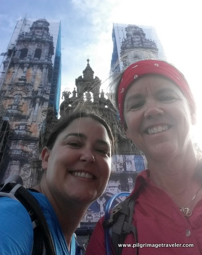 Elle and Shelly in front of Cathedral of Santiago de Compostela, Spain