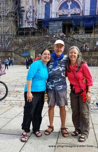 Shelly, Holger, Elle at Cathedral, Santiago de Compostela, Spain