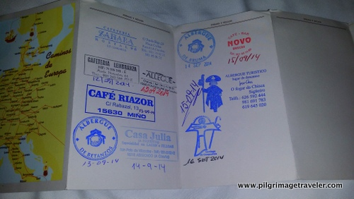 Stamped Credential, English Way to Sanitago de Compostela, France