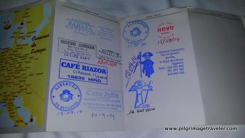 Stamped Credential, English Way to Sanitago de Compostela, France