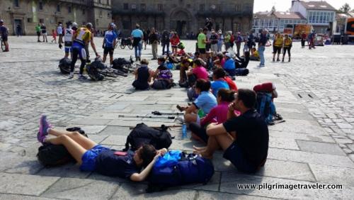 Pilgrims Repose in the Plaza de Obradoiro, Santiago de Compostela