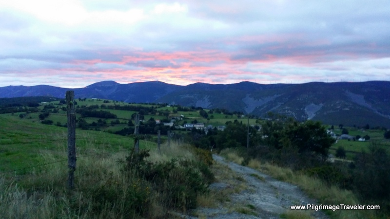 Sunrise over Berducedo, Spain on day six of the Camino Primitivo