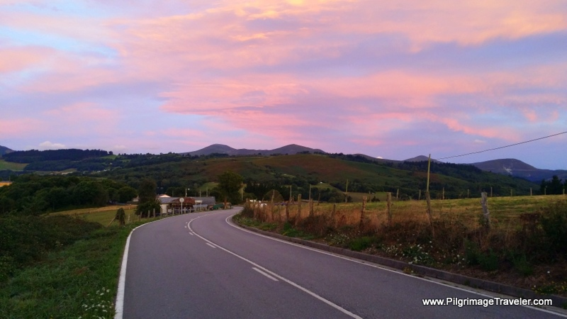 Sunrise in Campiello on the Camino de Santiago in Asturias, Spain