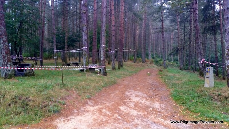 The Primitive Way Turns Right Here By the Picnic Tables, Galicia, Spain