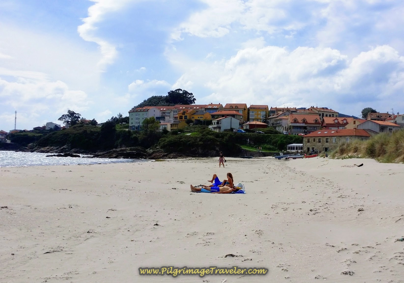 Langosteira Beach and the town of Finisterre, Spain