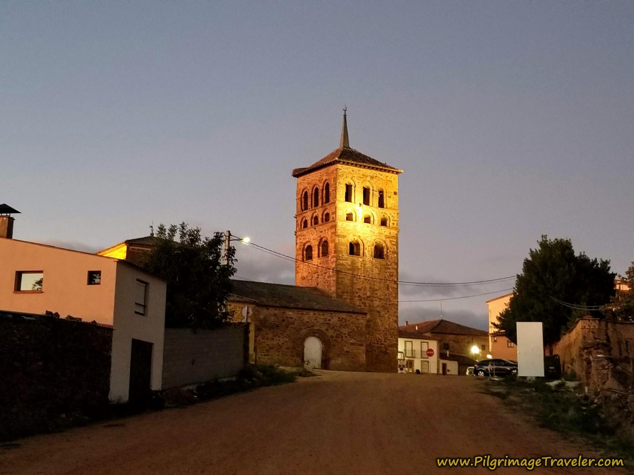 Iglesia de Santa María de Tábara in pre-dawn light.