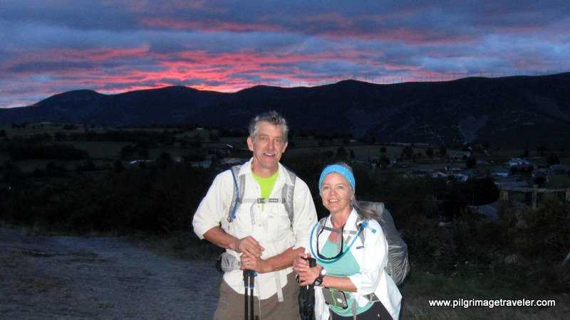 Rich and Elle on the Camino Primitivo at Sunrise