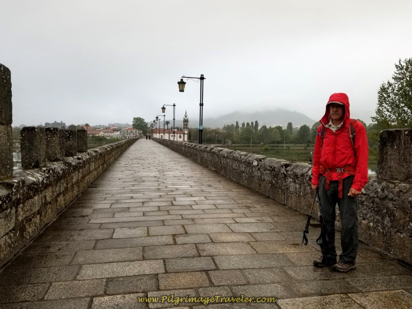 Rich on the Medieval Bridge to Start the Day from Ponte de Lima on day eighteen on the Central Route of the Portuguese Camino