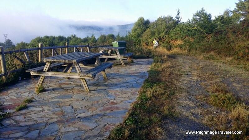 Picnic Area Overlooks Vilardongo on the Primitive Way in Galicia Spain