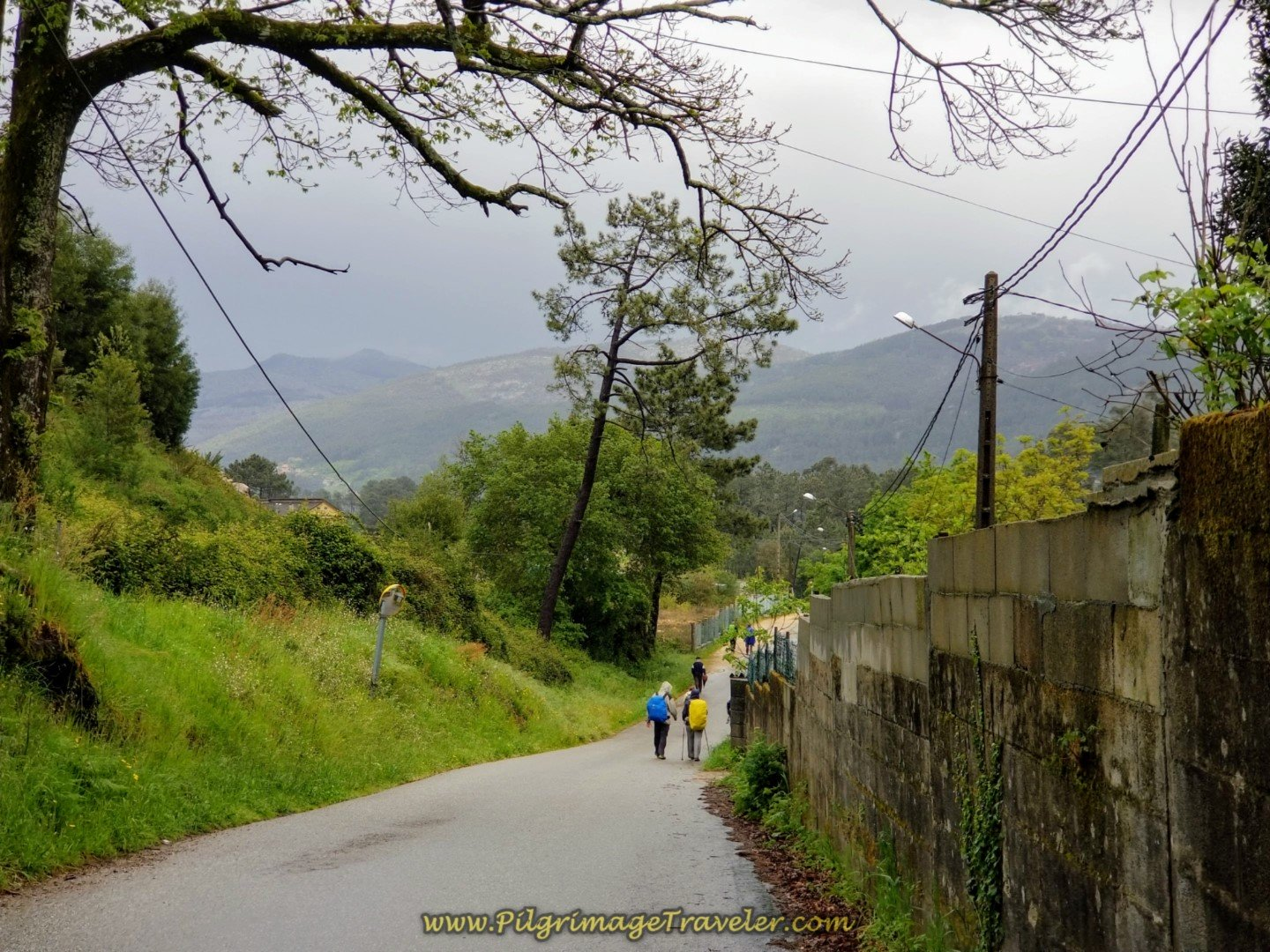 Down the Hill on the Camino das Lagoas on day twenty-one of the central route of the Portuguese Camino