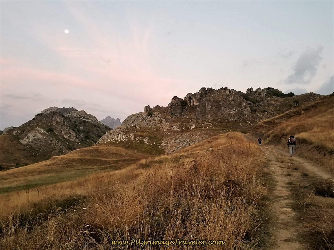 Sunrise walking in the Cantabrian Mountains along the Camino de San Salvador