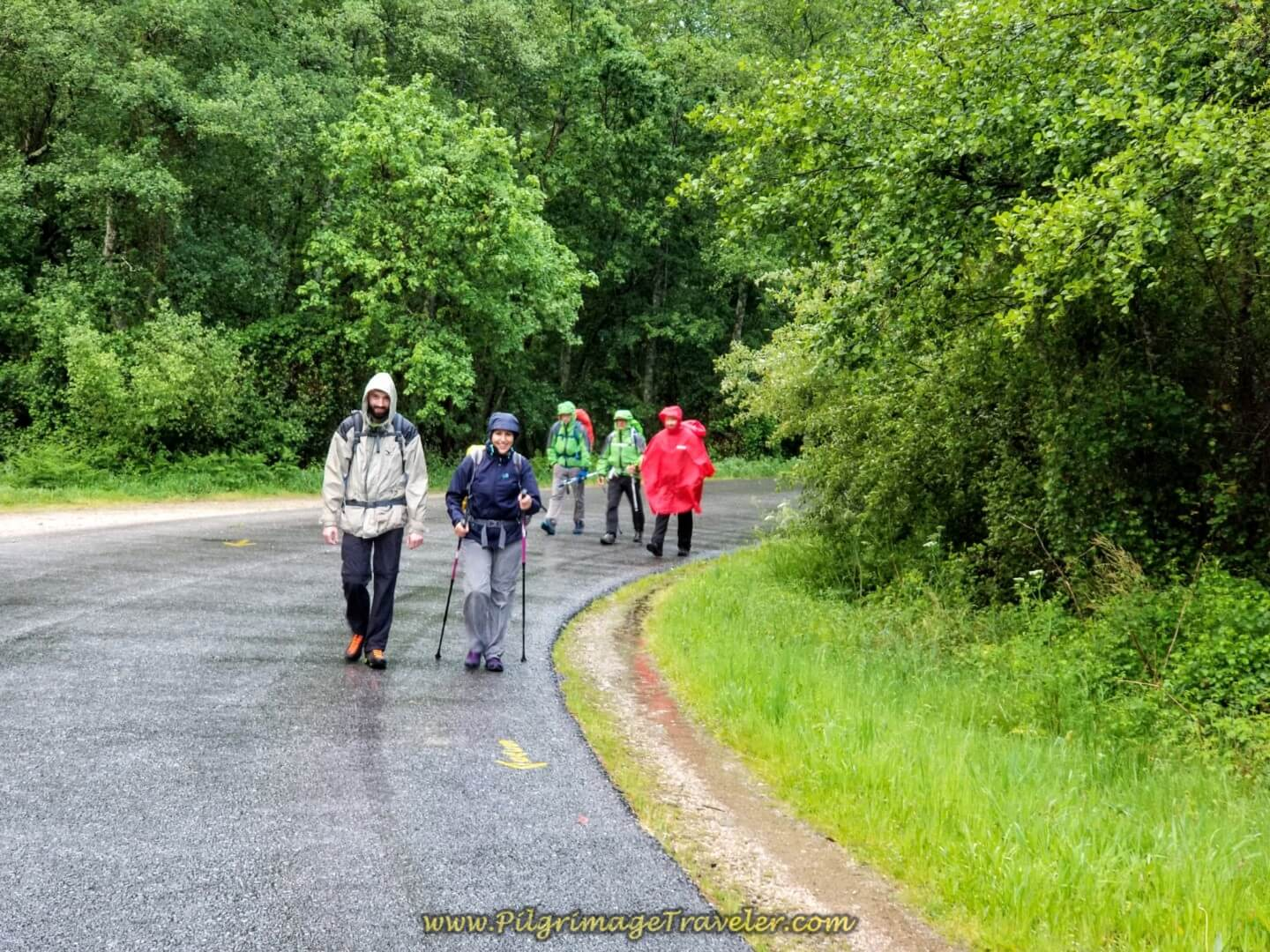 Borut and Miriam on the Senda Barros on day twenty on the central route of the Portuguese Camino