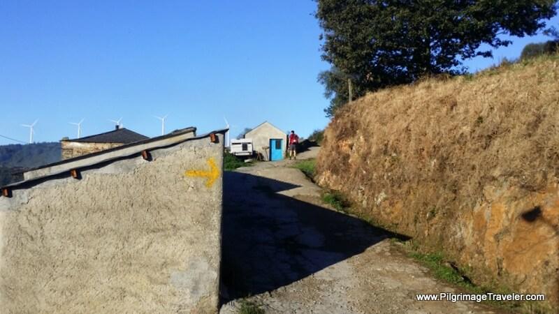 Walking Through the Town of Montouto on the eight stage of the Camino Primitivo