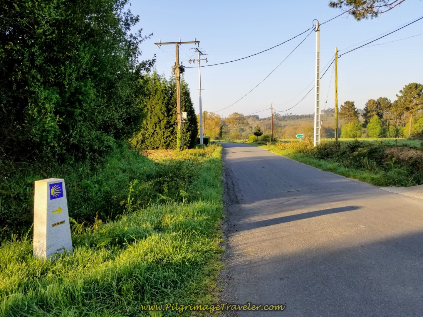 Walk Straight On at Kilometer Marker 35.8 on day seven of the Camino Inglés