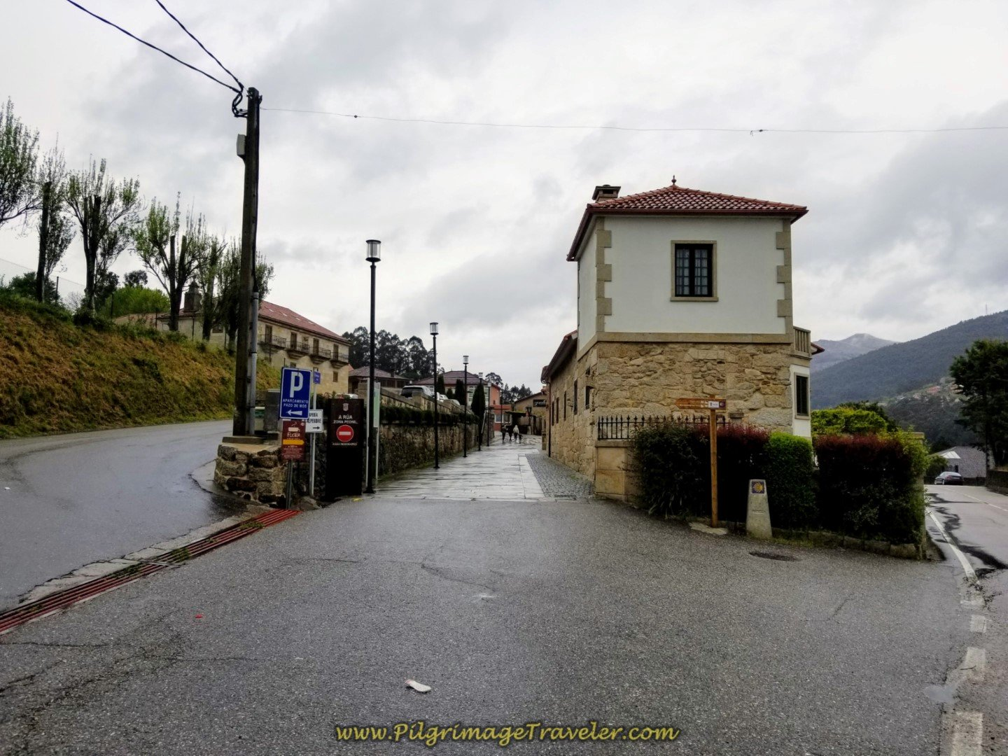 The Pedestrian Street, the Camiño da Rua, Into the Center of Mos on day twenty-one of the central route of the Portuguese Camino