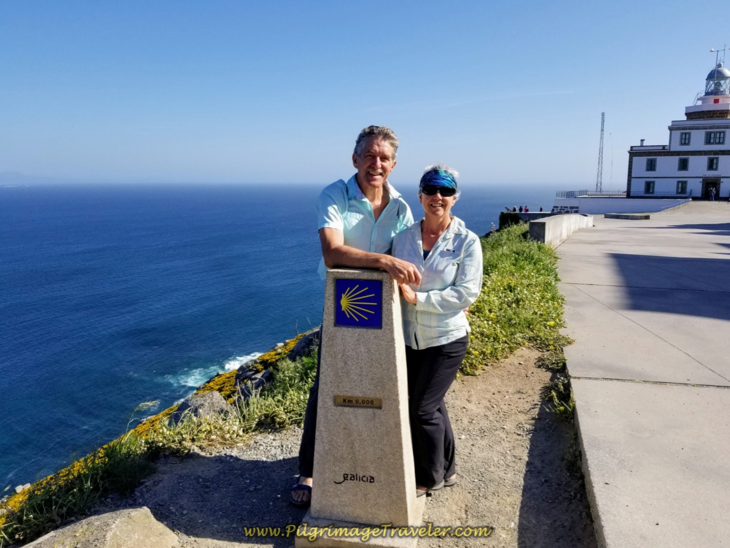 Rich and Elle at 0.0 Kilometer Marker