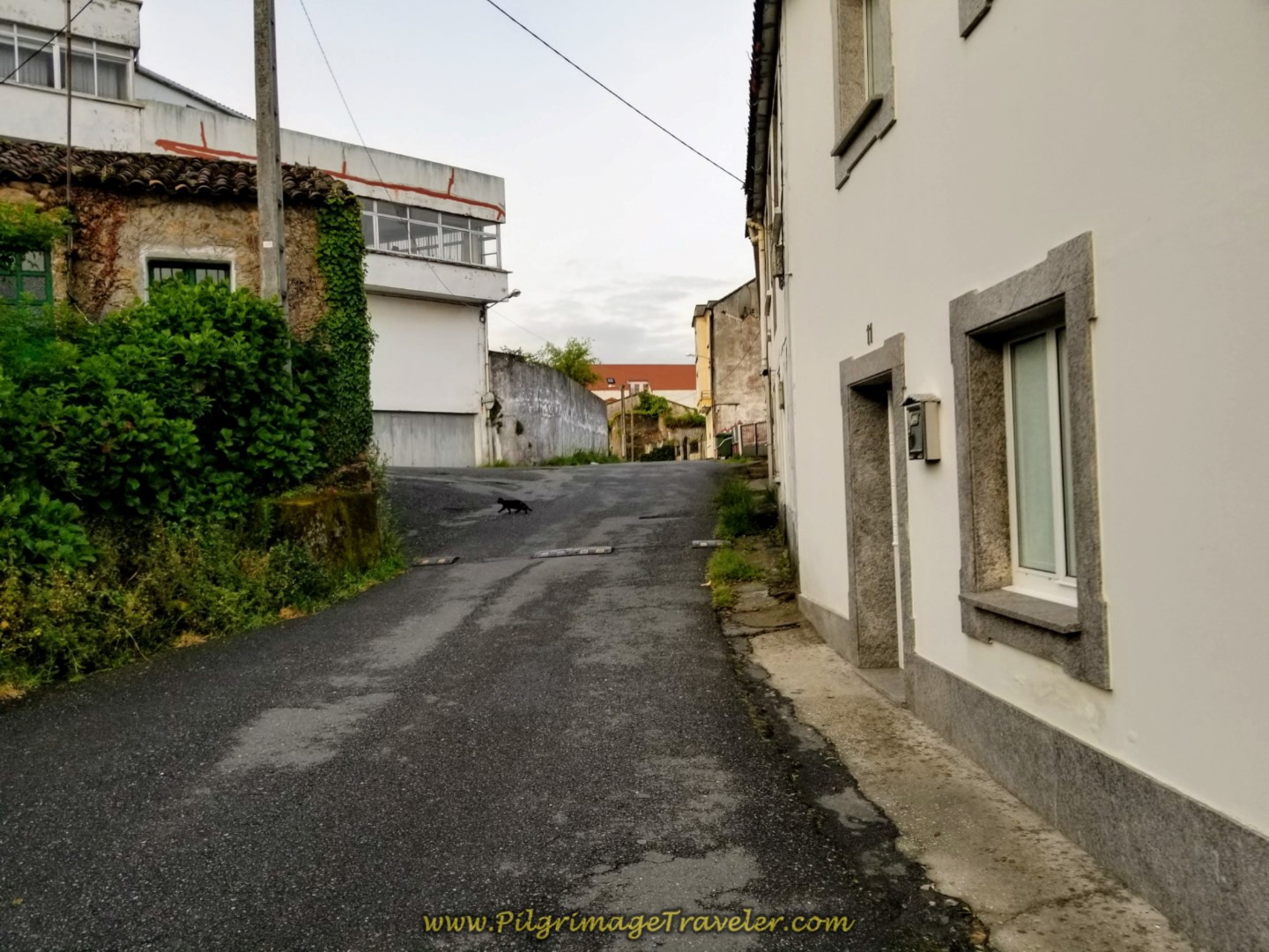 Uphill from the Albergue on the Aldea Empedron in Neda on day two of the Camino Inglés