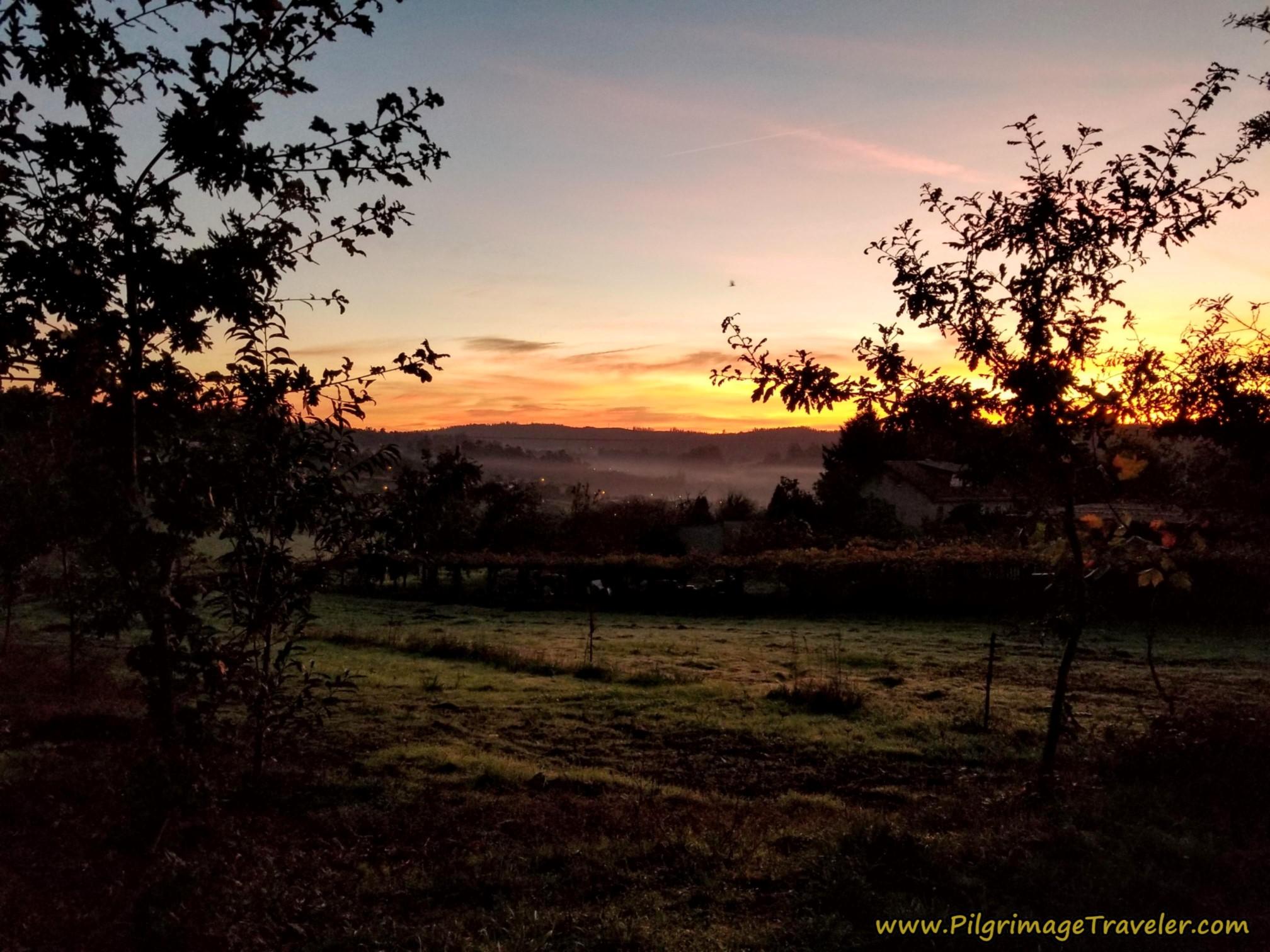 Sunrise Over Gándaraon on the Camino Sanabrés from A Susana to Santiago de Compostela