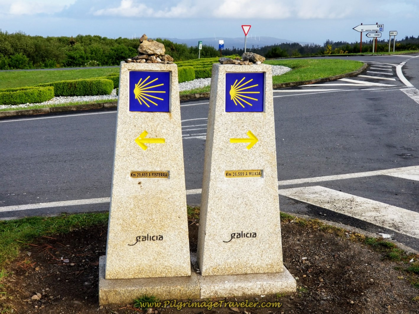 Muxía or Finisterre Kilometer Waymarkers on day three of the Camino Finisterre to Muxía