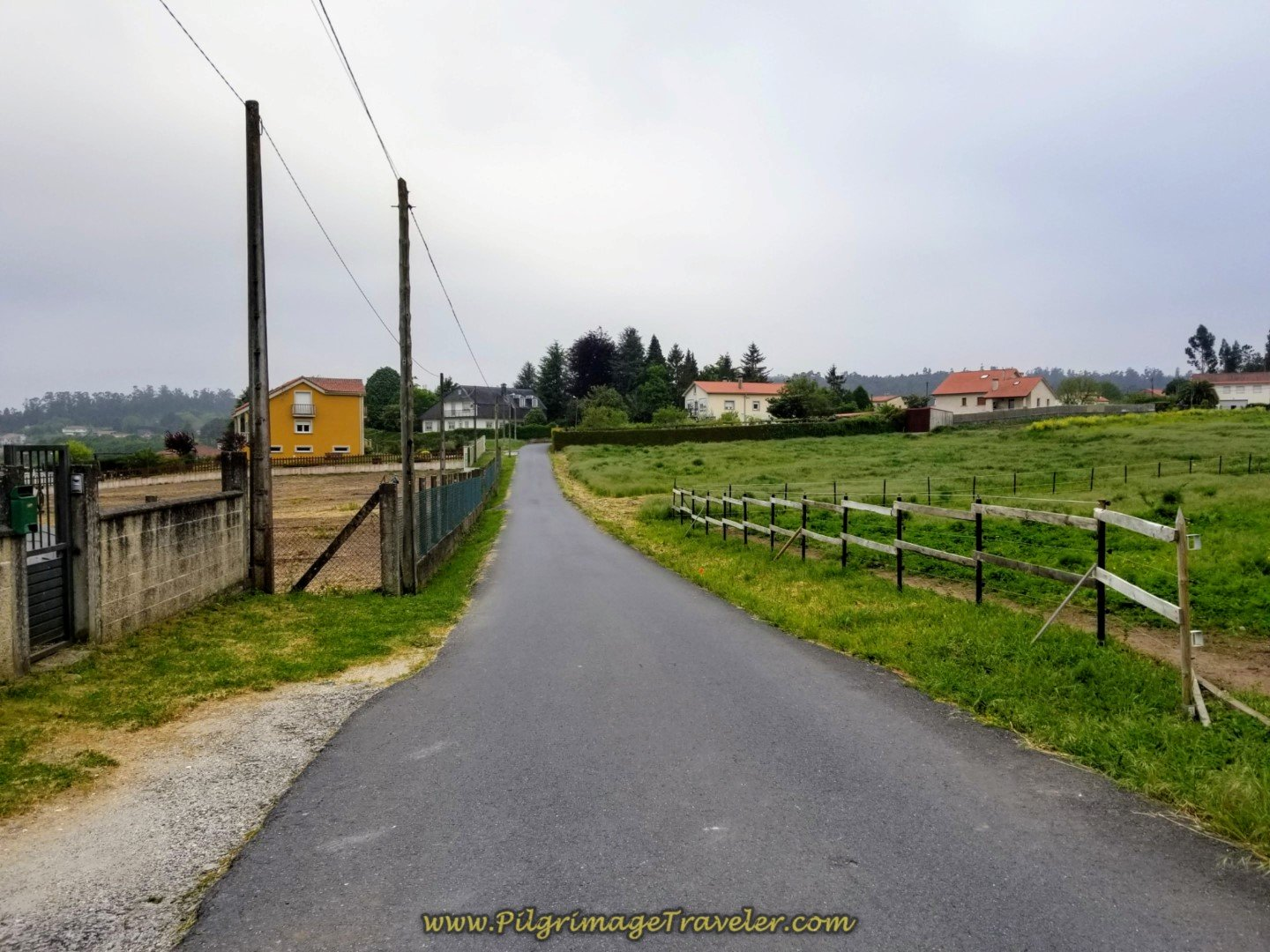 Pavement Through the Rural Way on day one of the Camino Finisterre