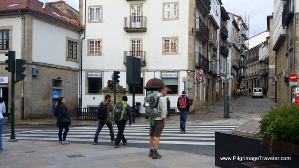 Rich at Rúa das Rodas Crosswalk, Camino Frances