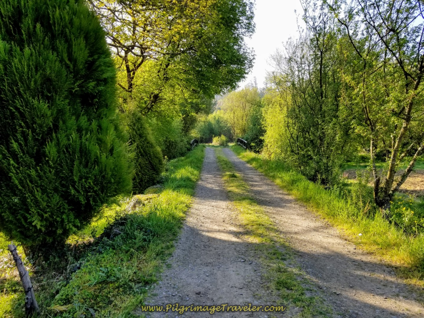 Country Lane Crosses River, Rego do Cabo on day seven of the Camino Inglés