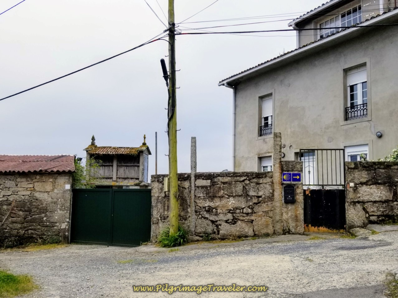 Right Turn at Horreo (Granary) in O Carballal on day one of the Camino Finisterre