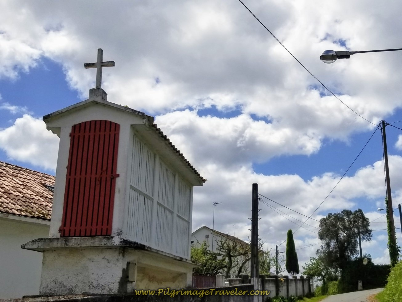 Painted White Horreo With Cross on day three of the Camino Inglés