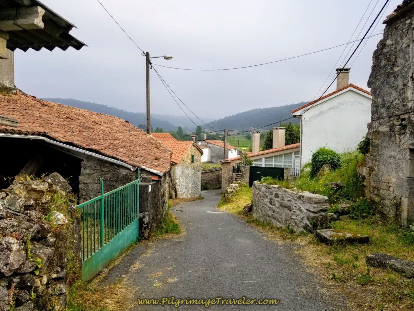 Walking Through the Village of Roxos on day one of the Camino Finisterre