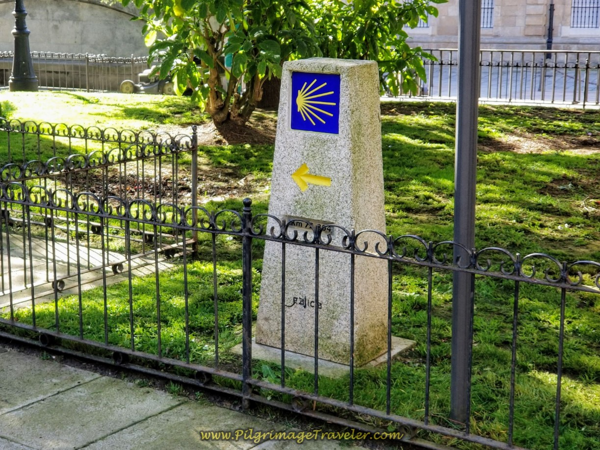 First Official Kilometer Marker of 72.884 at the Igrexa de Santiago on day one of the La Coruña Arm of the Camino Inglés