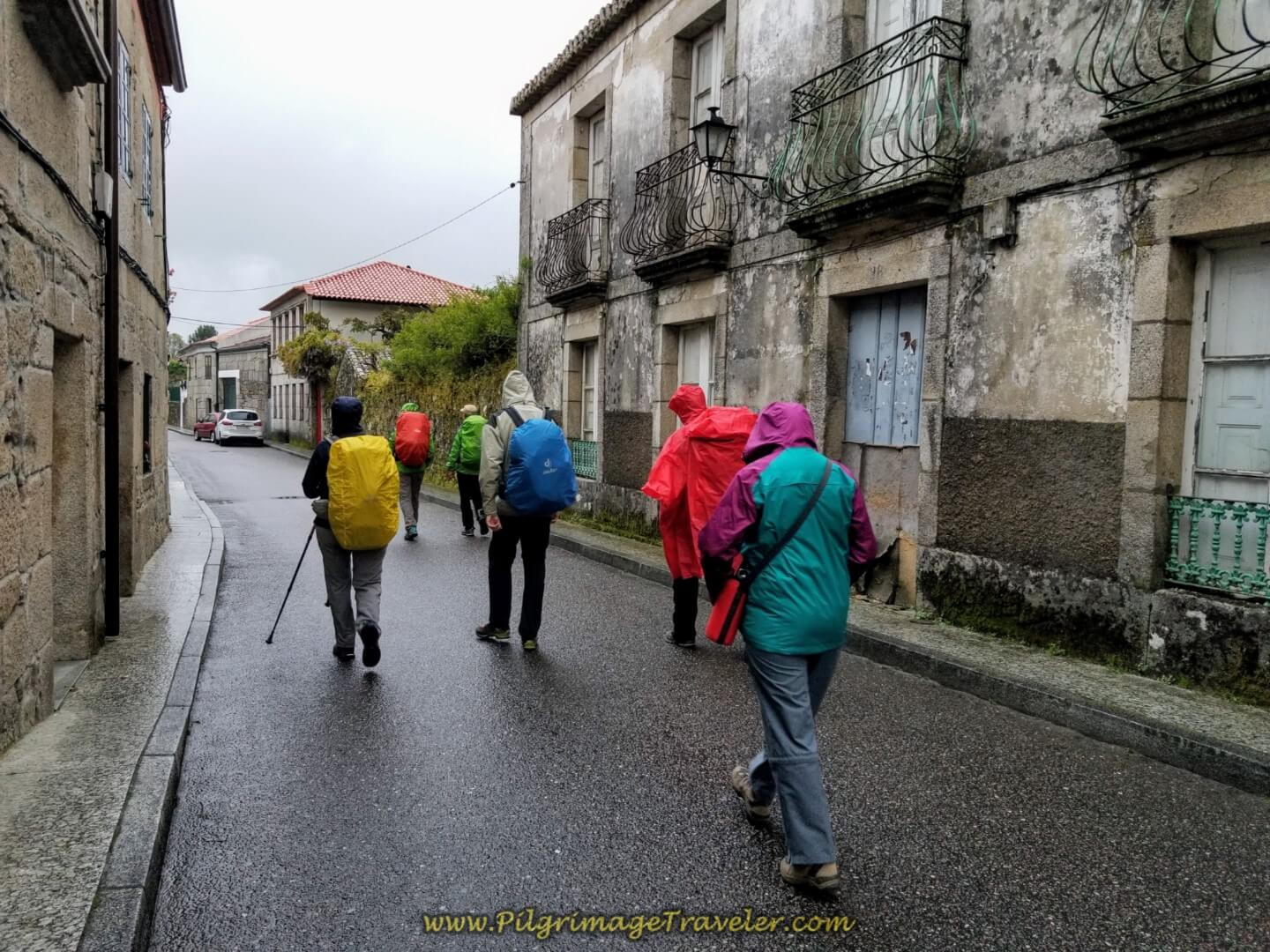 Right Turn on the Rúa San Bartolomeu in Tui  on day twenty on the central route of the Portuguese Camino