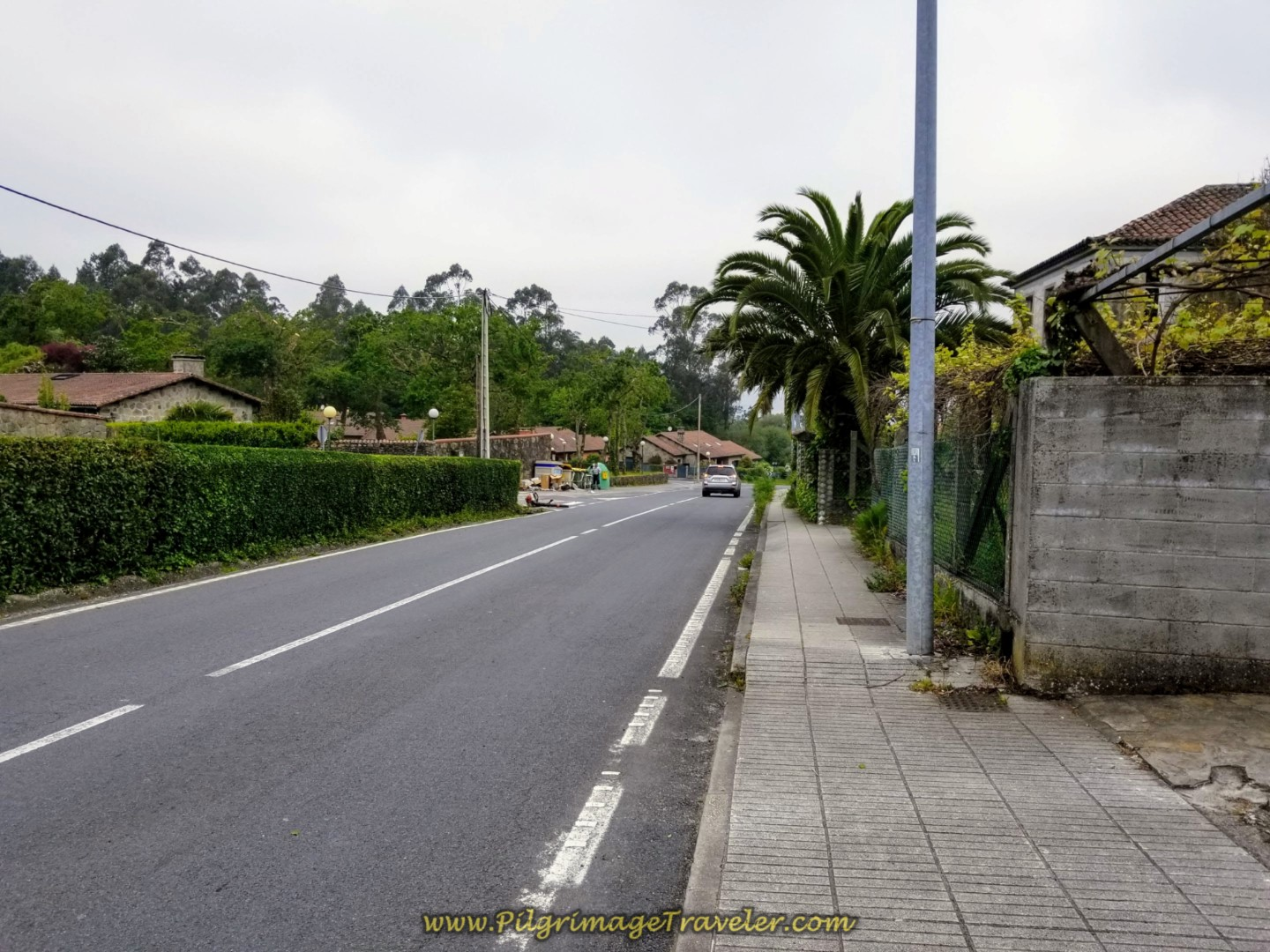 Walking Along the AC-453 on day one of the Camino Fisterra